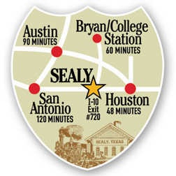 Badge Sealy Location map